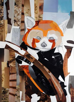 Tree Baby Firefox by collage artist Megan Coyle