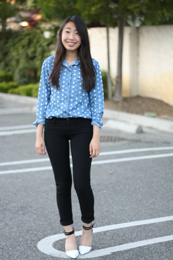 dot chambray shirt outfit
