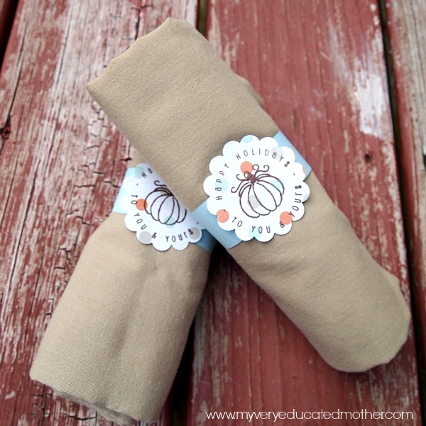11 Thanksgiving Table Decor Ideas featuring Stamped Napkin Rings from MVEMother