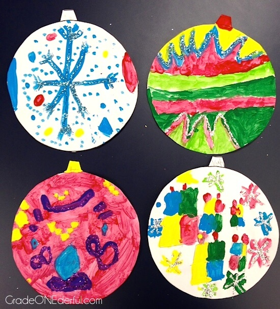 Christmas Ornament Art by Grade ONEderful. Painted paper ornaments with lots of glitter.