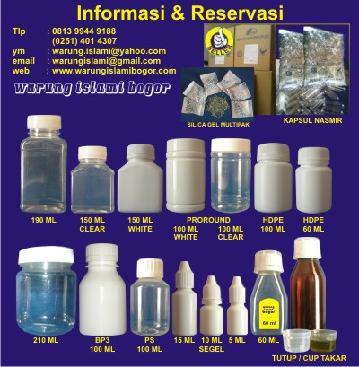 Jual Botol Kemasan Plastik Harga Grosir Berbagai Jenis, Ukuran dan Tipe