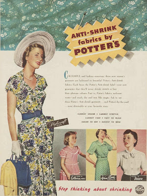 anti-shrink fabric ad from 1950