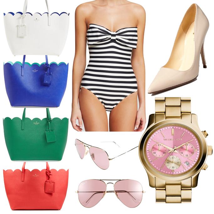 Kate Spade scalloped tote Michael Kors runway pink gold watch Rayban aviator sunglasses Kate Spade georgica stripes bandeau one piece swimsuit