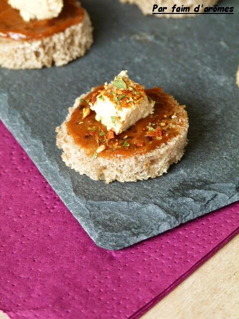 Toast tomate, pruneau, foie gras