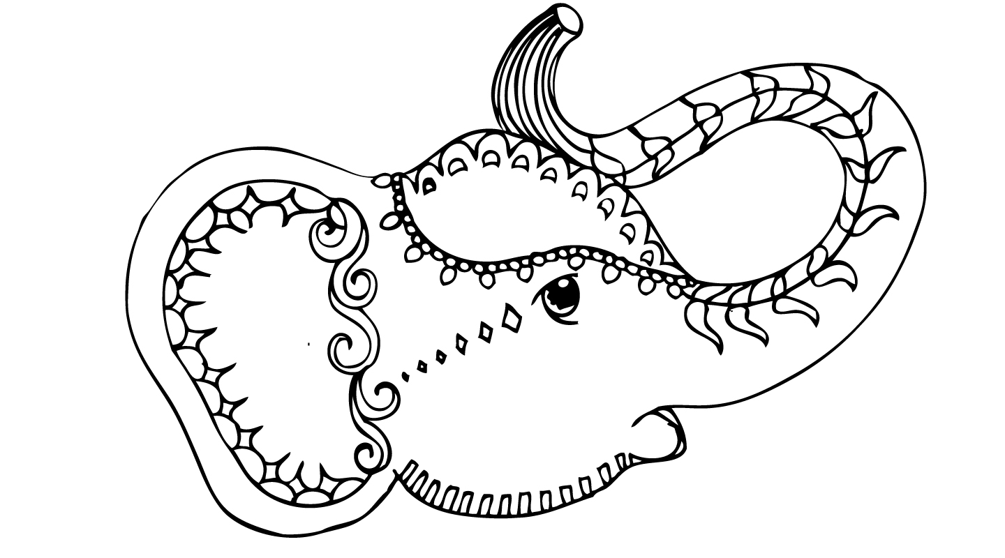 indian elephant face drawing