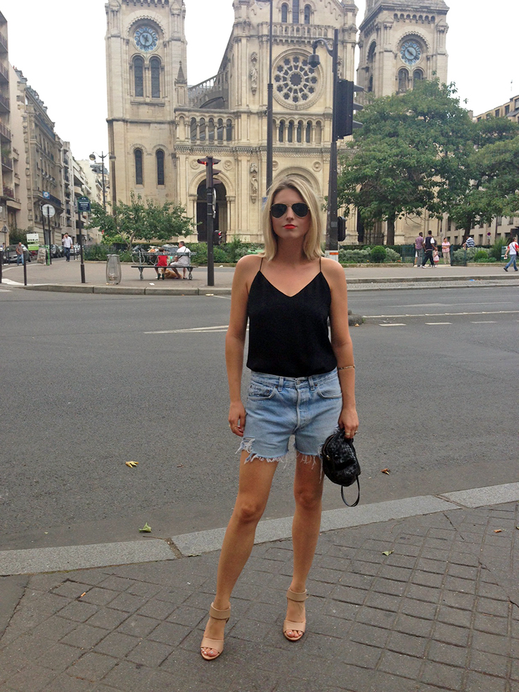 Fashion Over Reason in Paris, street style, fashion blogger, summer style, summer night out, distressed vintage cutoffs, J.Crew cami, MAC Lady Danger lipstick, off duty style