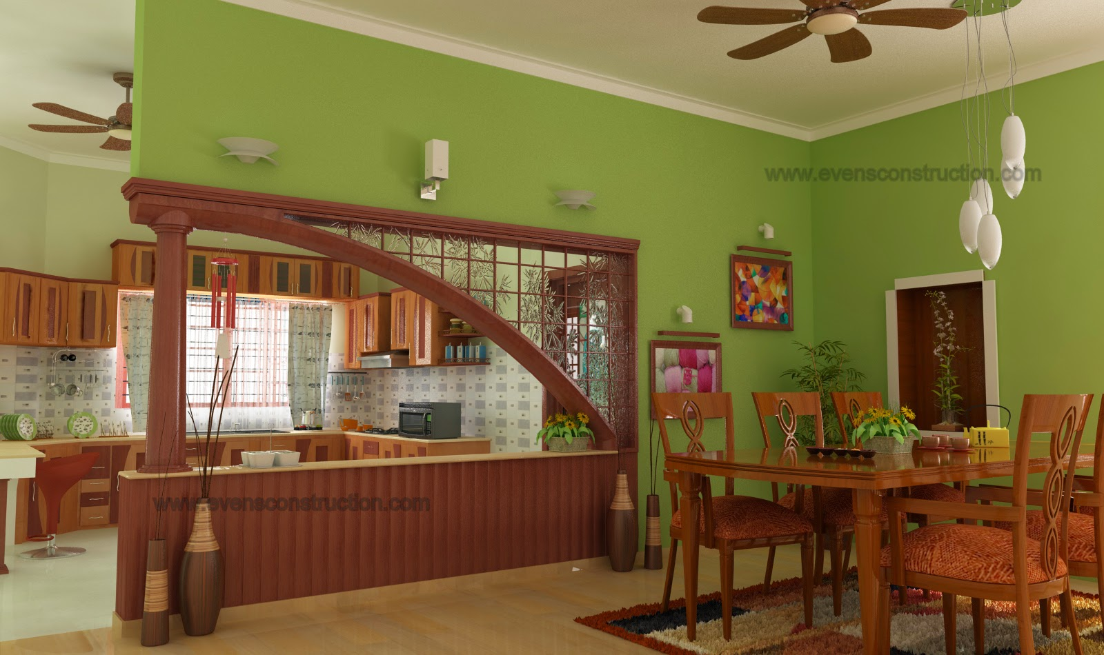 Evens construction pvt ltd interior design of kerala home for Dining room designs kerala