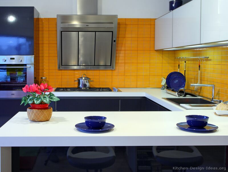 Our own home my dream kitchen midnight blue and white for Dark orange kitchen