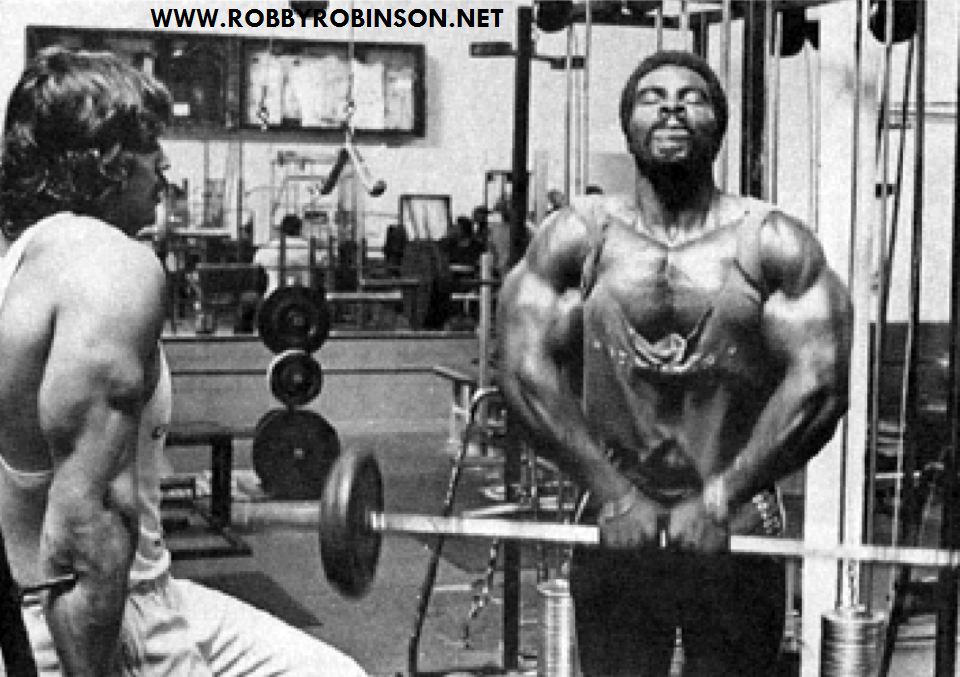 Robby Robinson & Denny Gable - training and photo shoot  during filming of Pumping Iron at Gold's gym; CA 1975 ● www.robbyrobinson.net/dvd_built.php ●