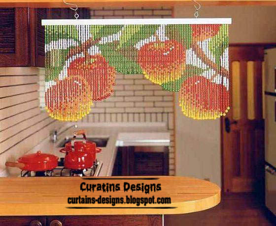 Apple beaded curtain model for modern kitchens | Curtain Designs Idea