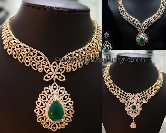 closed setting diamond emerald necklaces jewellery designs