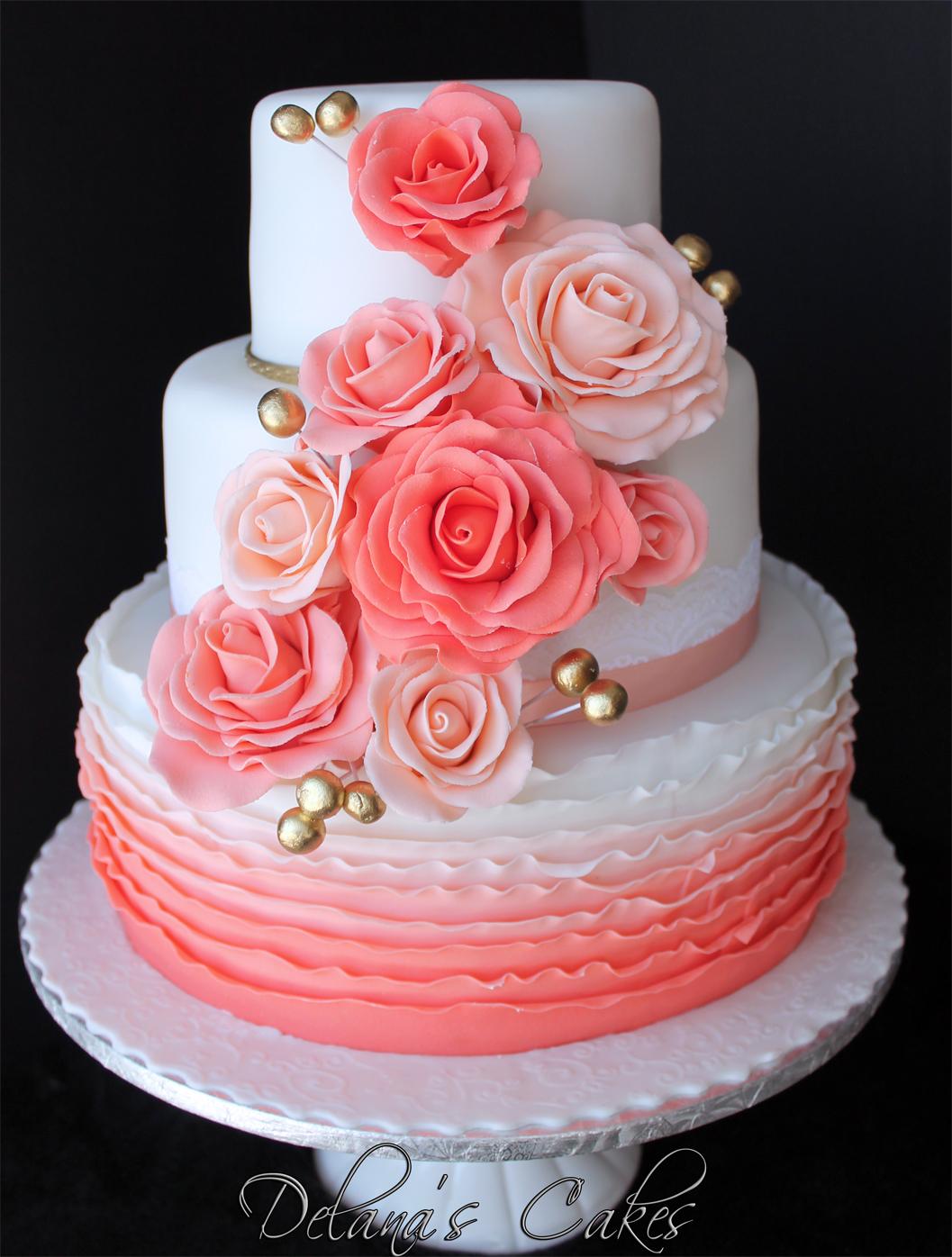 Delana\'s Cakes: Coral ombre Wedding Cake