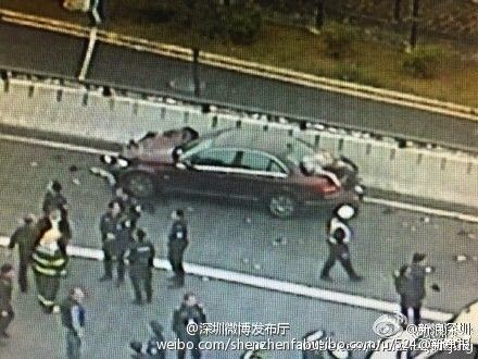 Men Falling from Airport Flyover after Hit by a Car