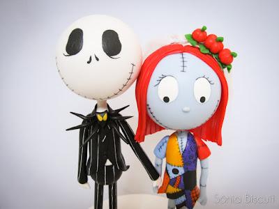 Jack e Sally Biscuit Topo de Bolo Halloween