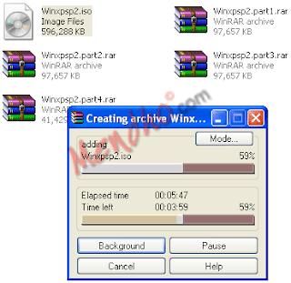 Proses split / memecah file - Image by MeNDHo.com
