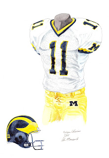 2004 University of Michigan Wolverines football uniform original art for sale