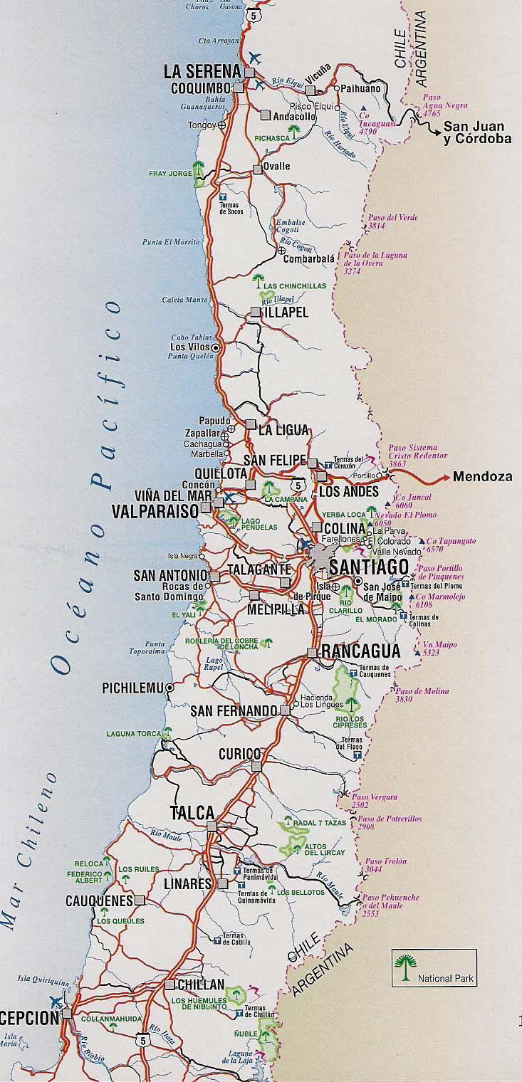 Mapa rutero x region chile for Mapa de santiago de chile