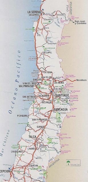 Mapa rutero de chile zona central