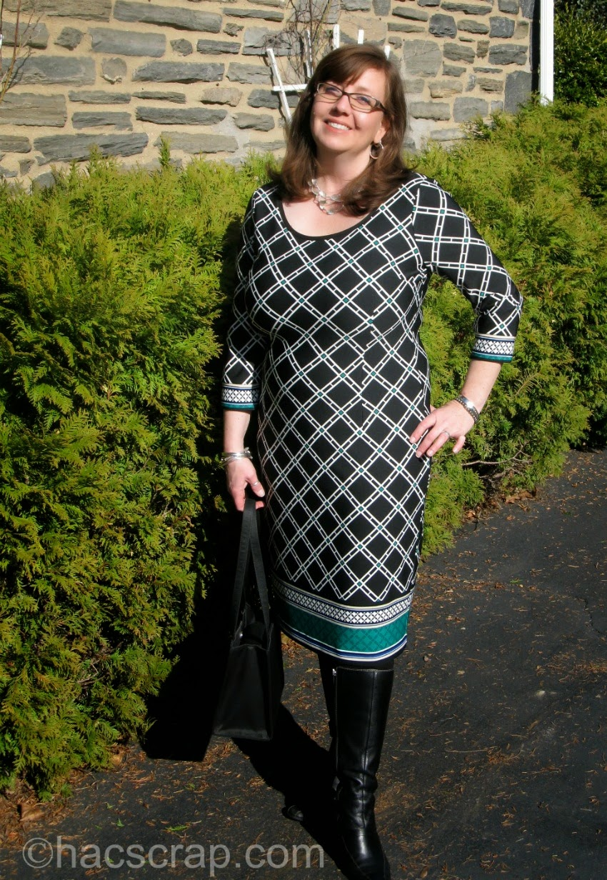 Print Dress with Black Boots MidLife Mom Style | My Scraps
