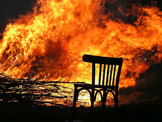Chair in front of fire