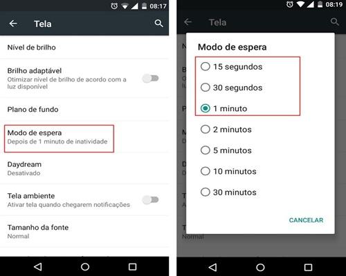 Acelere o modo de espera do Android para economizar bateria