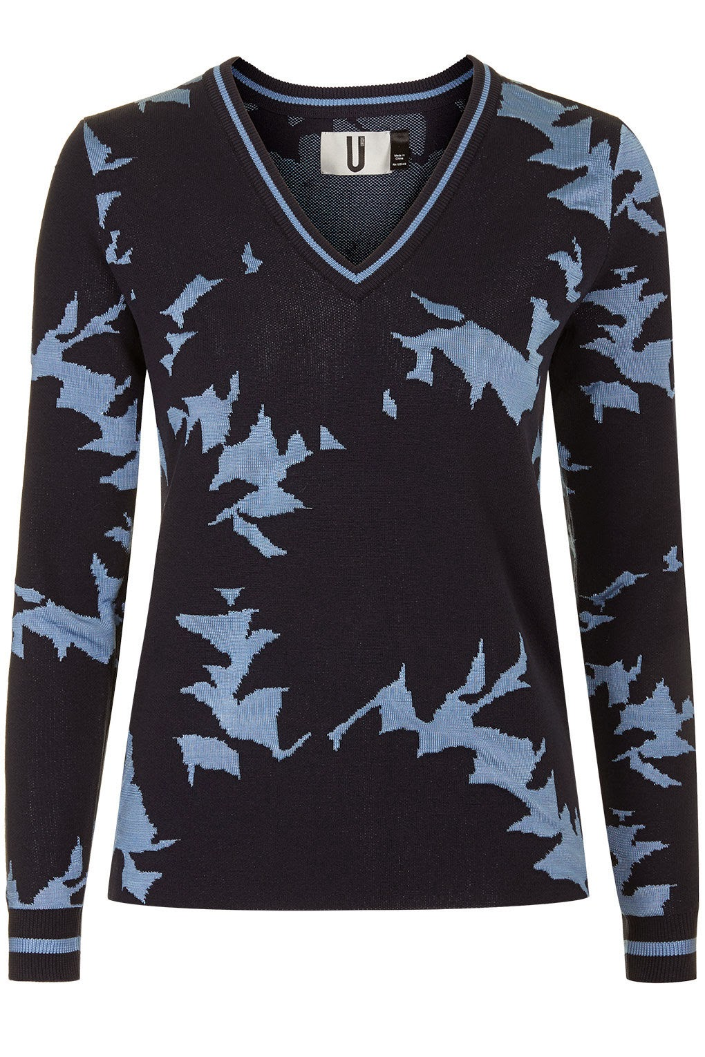 blue floral v neck jumper, topshop blue v neck jumper,