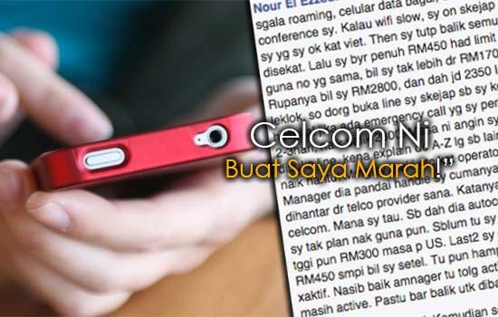 Luahan Pelanggan Dikenakan Caj RM2,800 Oleh Celcom