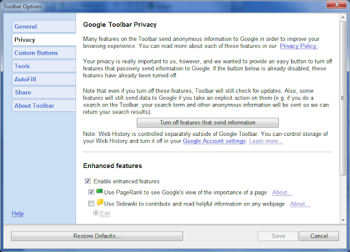 google toolbar privacy settings