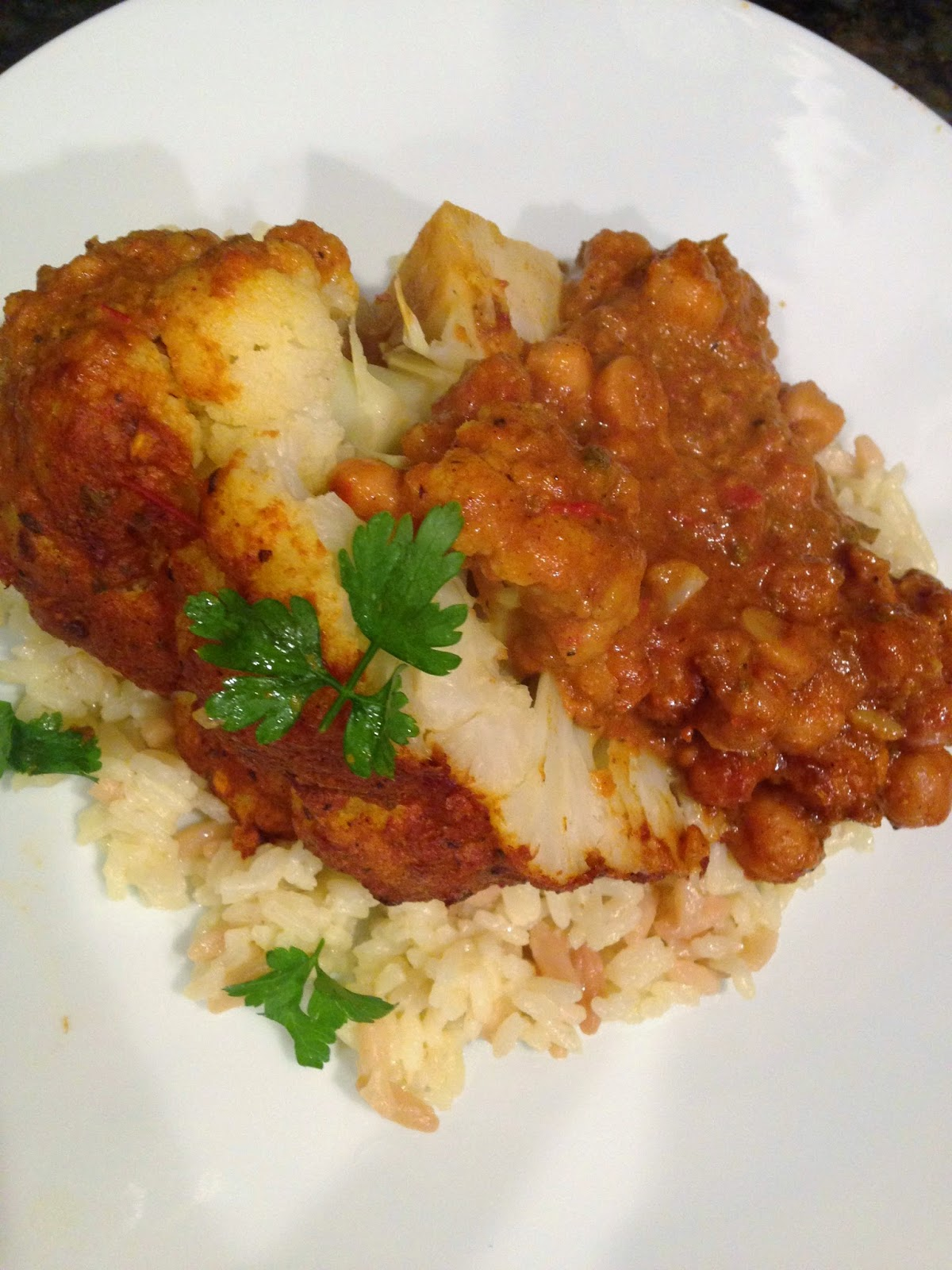 Cauliflower and Chickpeas with a Spiced, Creamy Tomato-Coconut Sauce ...