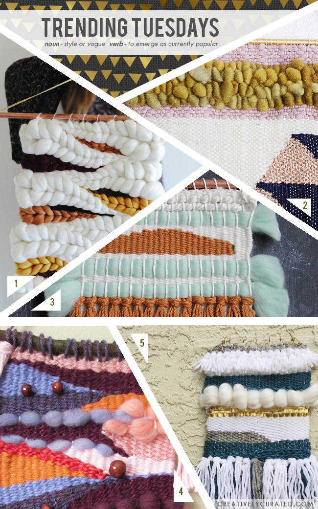 Trending Tuesdays | CreativelyCurated.com #weaving #woven #yarn #wallhangings #trending #diy