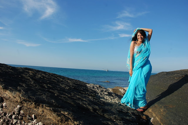 Kajal Agarwal Hot Blue Saree Photos