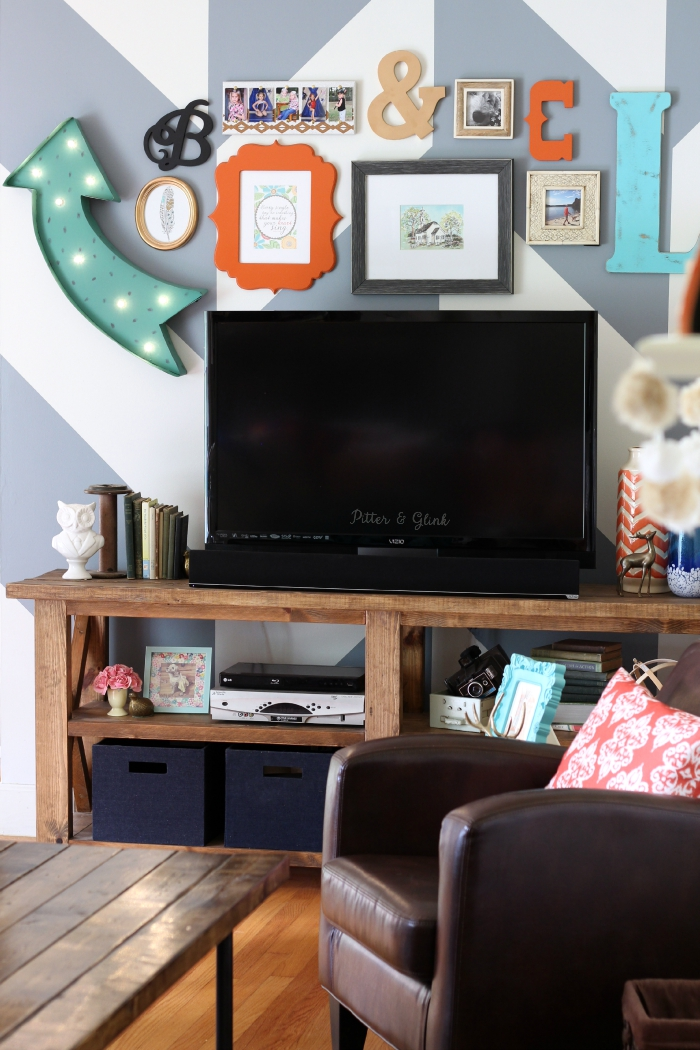 How to Create a Fun & Eclectic TV Gallery Wall www.pitterandglink.com