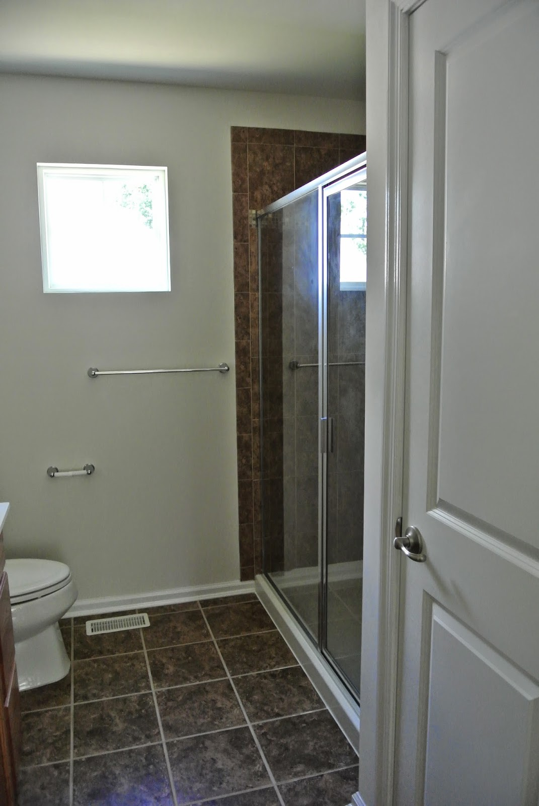 A picture of the completed master bathroom