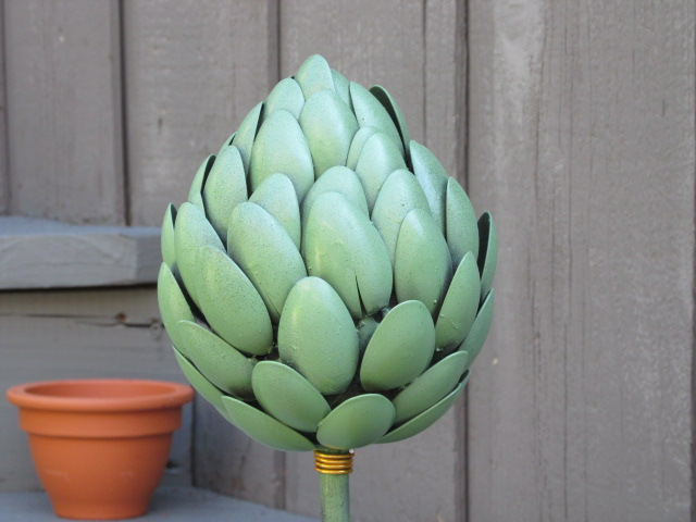 Craft klatch recycled artichoke garden art craft tutorial for Easy recycled materials