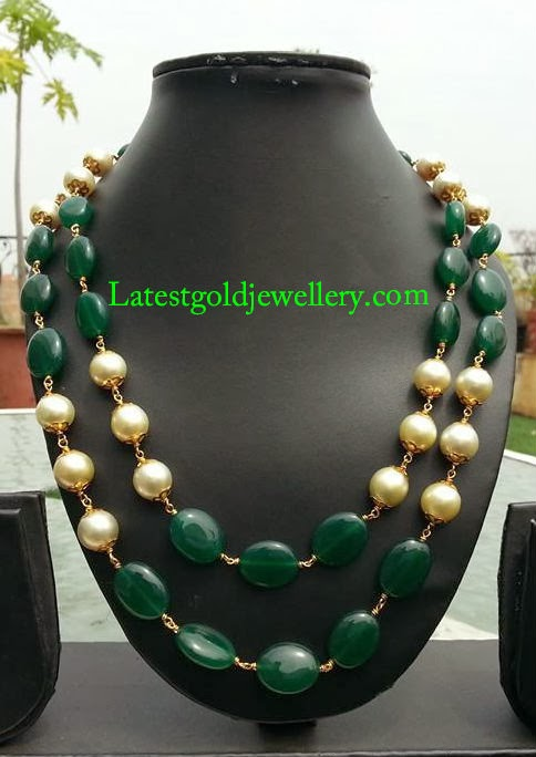 emerald and south sea pearls mala