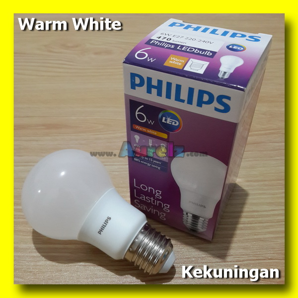lampu led philips 6 watt warm white
