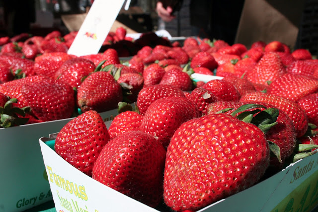 Fresh strawberries for strawberry-filled doughnuts