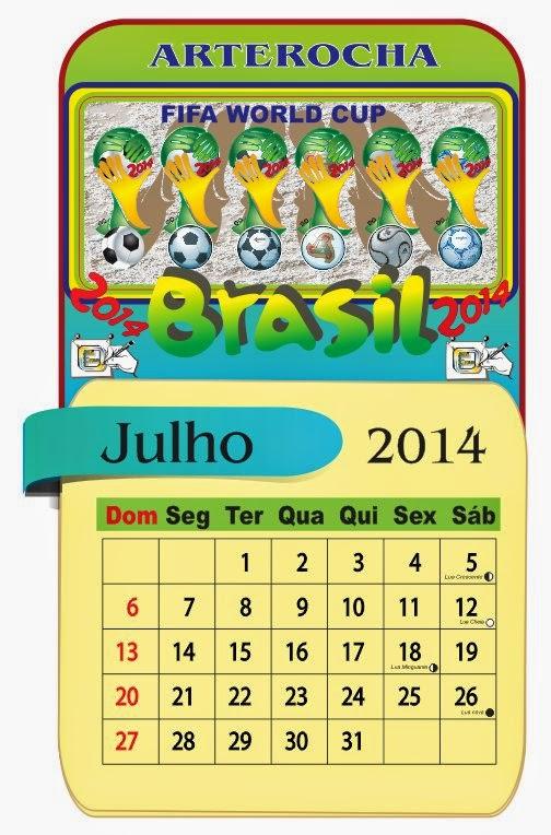 Calendário do mês de Julho de 2014, com os feriados e fases da lua.