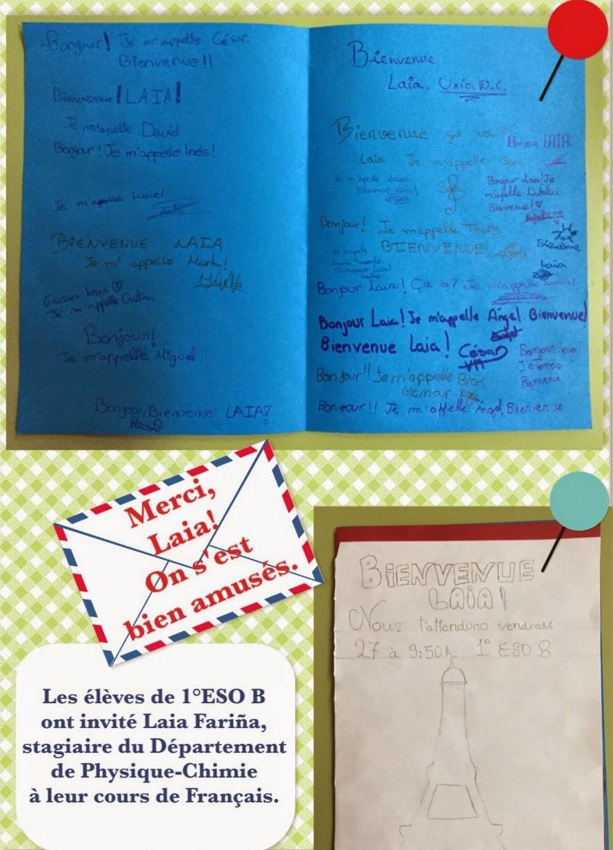 Invitation de 1º ESO B pour Laia. Image par Sandra Rdgz Nieto.