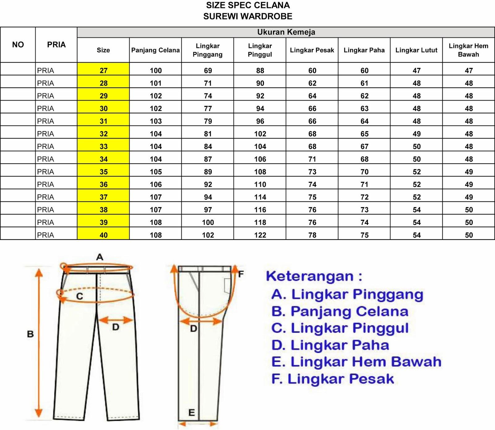 Standard Ukuran Celana Kerja