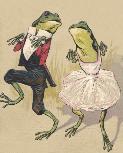 vintage illustration of a couple of dressed frogs dancing