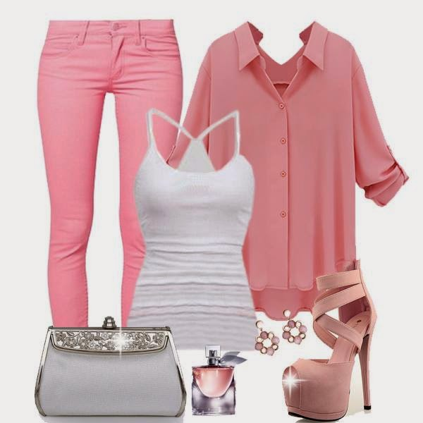 pretty cute ladies outfit fashion with jacket ,tank,slim pent and purse fashion
