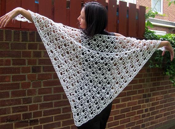 Hand Crochet : Handmade Laremi: White hand crochet shawl