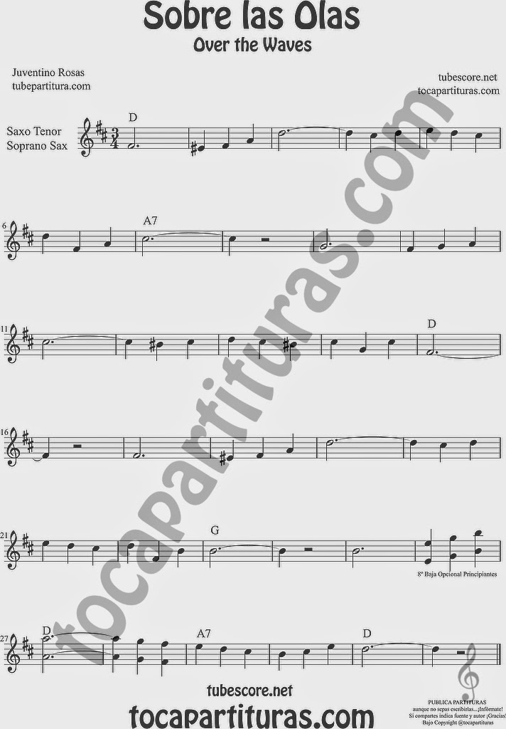 Sobre las Olas Partitura de Saxofón Soprano y Saxo Tenor Sheet Music for Soprano Sax and Tenor Saxophone Music Scores Juventino Rosas Over the Waves