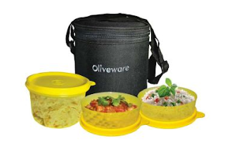 Buy Oliveware Lovely Little Lunch Bag With 1 Big + 2 small containers for Rs.185 : BuyToEarn