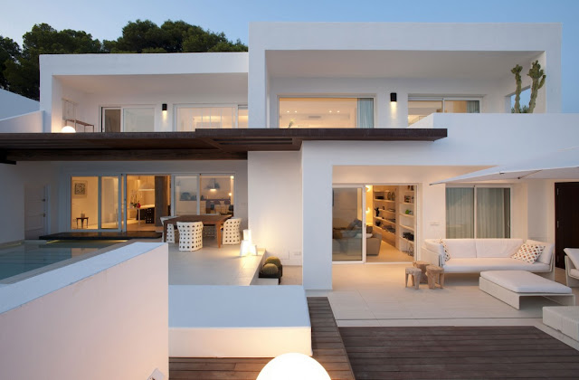 White modern home in Ibiza, Spain
