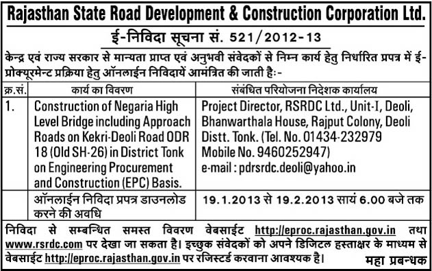 All Tenders Information Rajasthan State Road Development