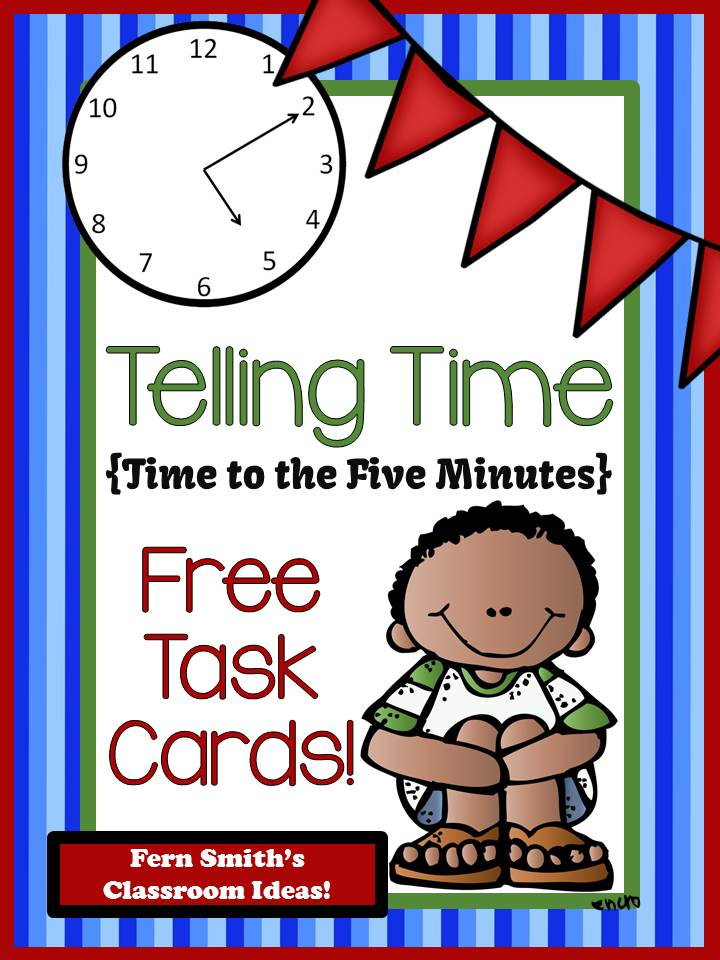 Fern Smith's Classroom Ideas FREE Telling Time Task Cards for Time to the Minute