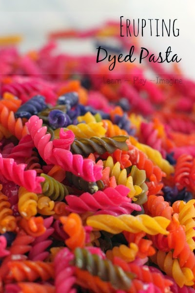 Erupting dyed pasta, say what?!  This is too cool!