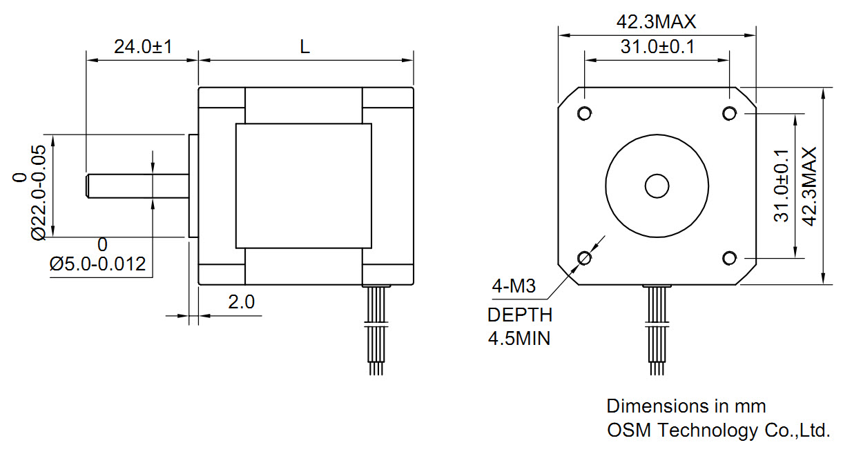 Stepper motor second nema 17 standard vexta teac for Nema 17 stepper motor datasheet